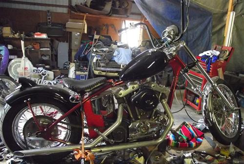 Sportster chopper, need to clean shop, goddamnit.