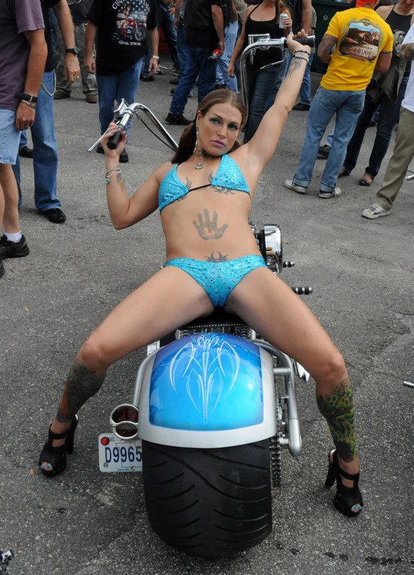 Is this getting too techy? How about a break. This photo, by Rogue, just in from a bike show at Biketoberfest.