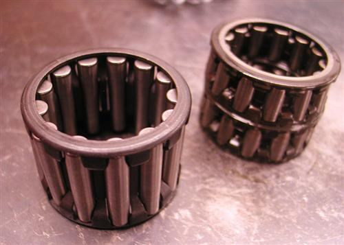 This shot shows the hot rod pinion shaft bearings compared to the stock jobs.
