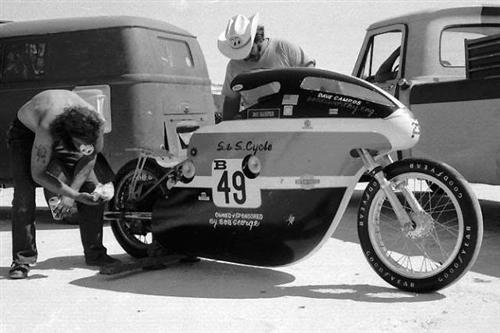 "Bob George's famous ""Double""...231 mph Bonneville record holder in the early 1970s with Dave Campos riding."