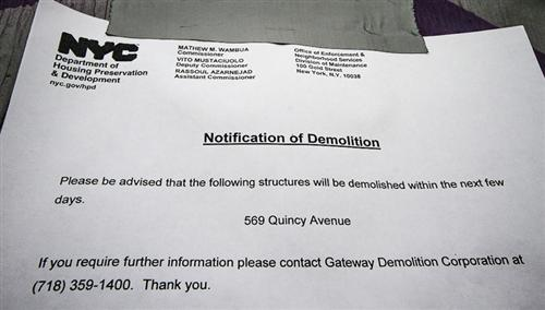 NYC Department of Housing Notice of Demolition