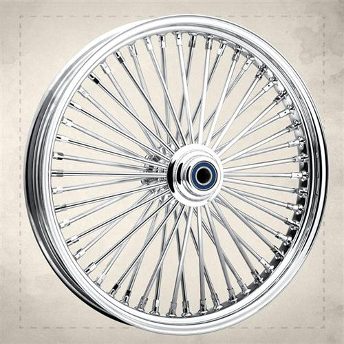 Here's a 50-spoke wheel with a conventional steel rim.