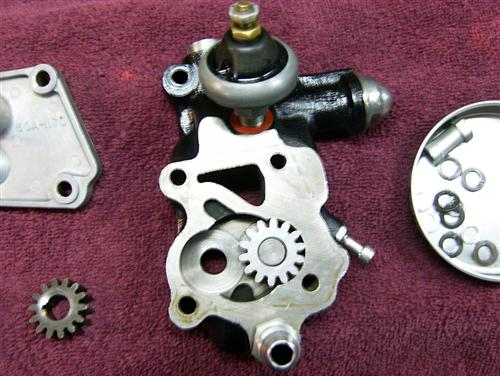 Oil pump dismantled, cleaned and ready for new gaskets.