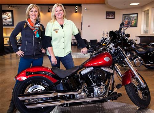 Shelly Rossmeyer  and Jessi Combs with the Biker Belle bike before customization