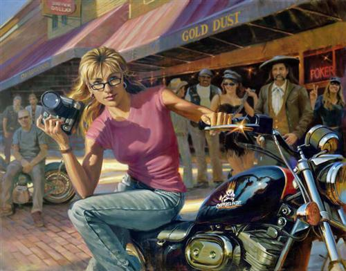 Sara and her XL, painted by David Uhl