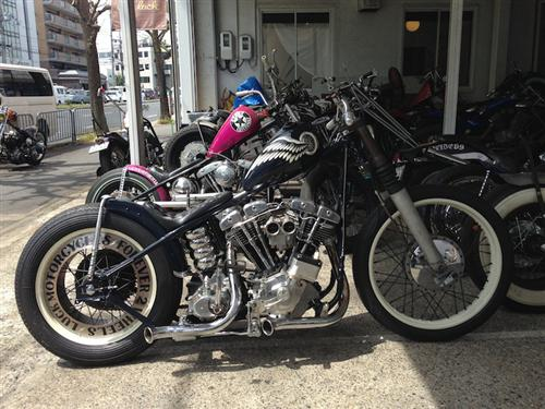 Visited Luck Motorcycles bike shop…cool shovel head. They took this bike to Born Free.