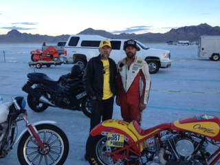 Micah McCloskey, who was one of the ER crew members when we set the record, and Johnny, who read my book, bought a drag bike chassis and came to Bonneville.