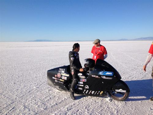 Hiro made passes with his 135-inch JIMS engine, similar to the engine we plan to run in our streamlined trike.