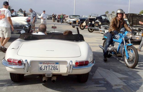 "Two ""classics"" share the road…..1965 Jaguar XK-E and Josh Withers ""toaster tank"" BMW."