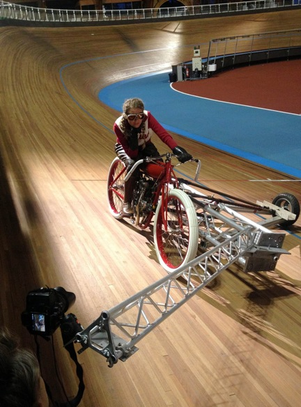 A special camera tracking device was special built for the Velodrome shots.