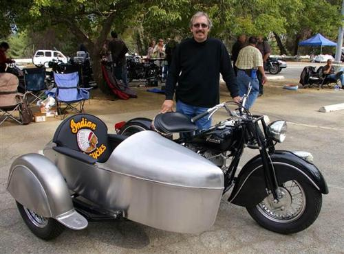 1948 Indian Chief in high contrast to paint free H-D sidecar.
