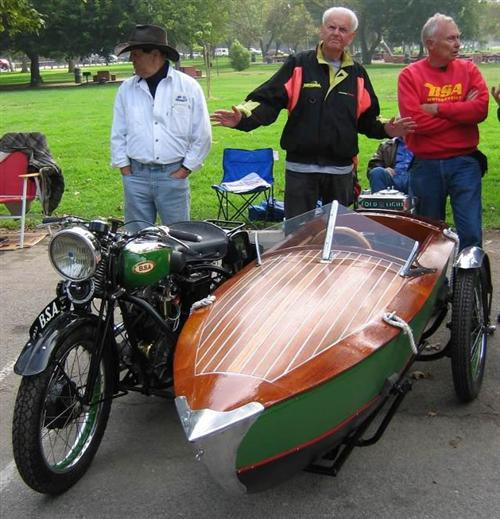 '50s BSA matched to real boat converted to sidecar and yes, it detaches for use back in the water via rear motor.