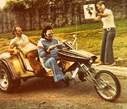 Elvis, the King, riding the Roth trike with the first Ron/Roth springer.