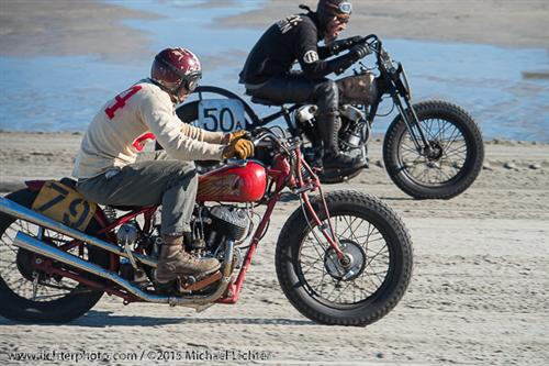 Here's a shot of Go at the Race of Gentlemen. In this case he's racing his Indian Chief/Scout with a girder front end.