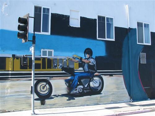 In the middle of Frank's rebuild I started on a mural on the side of the Bikernet Headquarters to support the Wilmington Waterfront, but it had to contain a motorcycle...