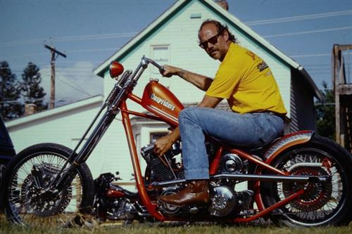 Bandit on his Pat Kennedy Chopper. Choppers forever!
