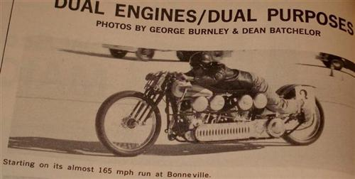 Old magazine image of a stretched out rider from Chris Kallas.