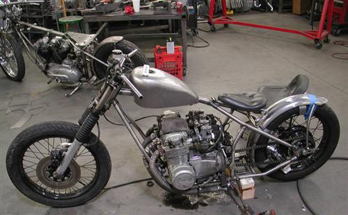 This completely stock 500 Honda four rolled into the Spitfire shop one night ,and this is what they created in less than 12 hours, a complete ground up bobber chassis using all the stock components.