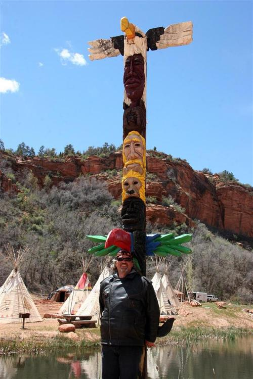 Evan at a beautiful totem pole.