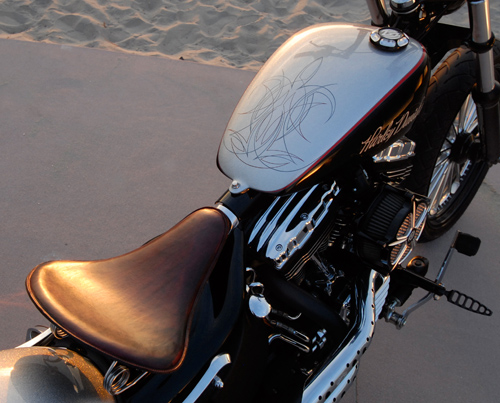 RSD solo seat pan. Leather by Roberti Customs in Texas