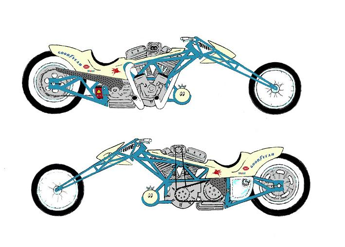 Drawing Initial Concept For The Funny Car Inspired Muscle Bike thumb