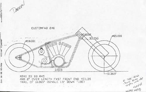 bike blue print the killer chopper cad drawing
